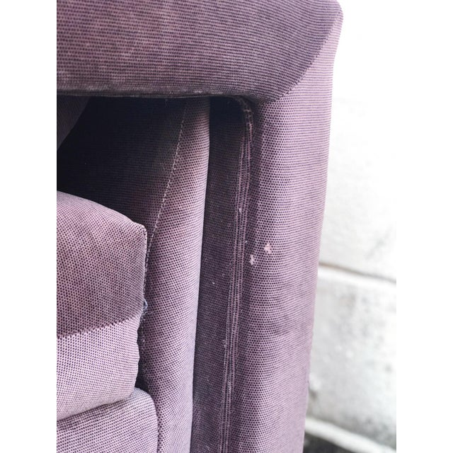 Textile Milo Baughman Style Parsons Armchairs in Original Amethyst Fabric - a Pair For Sale - Image 7 of 11