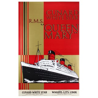 Original Queen Mary Art Deco1930s Poster For Sale