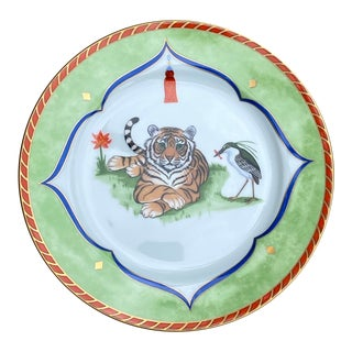 Tiger Raj 24k Gold Accents Bread & Butter Plate by Lynn Chase For Sale