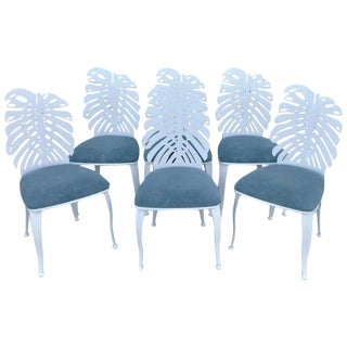 Six 1970s Wrought Iron Palmette Chairs, Restored For Sale