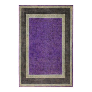Overdyed Color Reform Kathalee Purple/Charcoal Area Rug - 7'8 X 9'8 For Sale