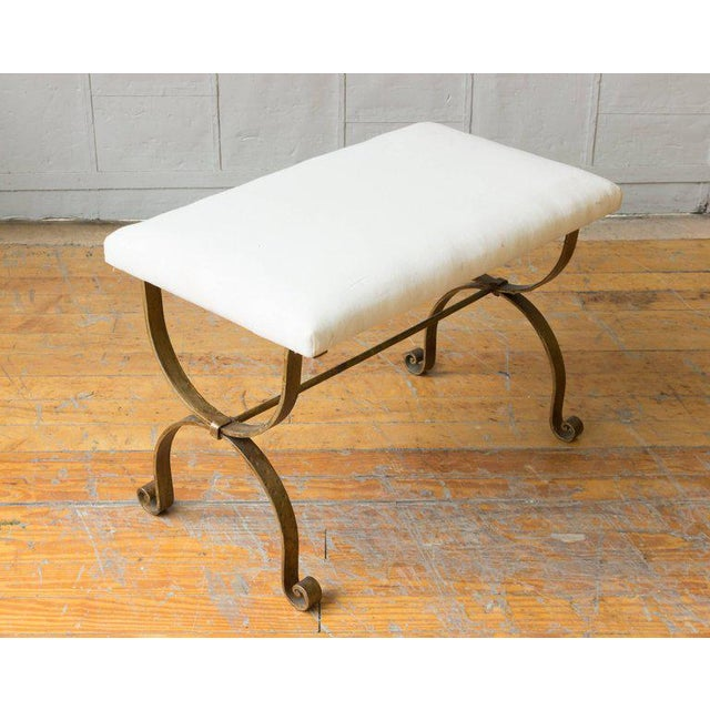 Mediterranean Gilt Iron Bench in Muslin For Sale - Image 3 of 9
