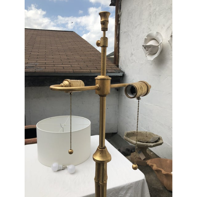 Late 20th Century Gilt Metal Faux Bamboo Floor Lamp by Circa Lighting For Sale - Image 5 of 13