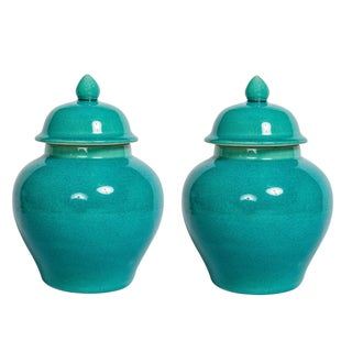 Turquoise Blue Urns - A Pair For Sale