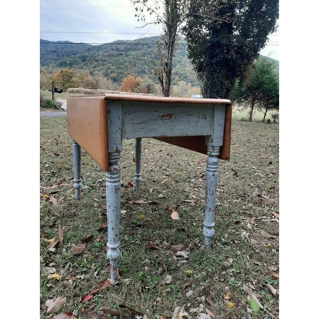1800's Antique Pine Wood Drop Leaf Farmhouse Painted Distressed Table With Drawer For Sale - Image 4 of 13