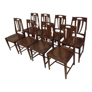 German Oak Dining Chairs- Set of 8 For Sale