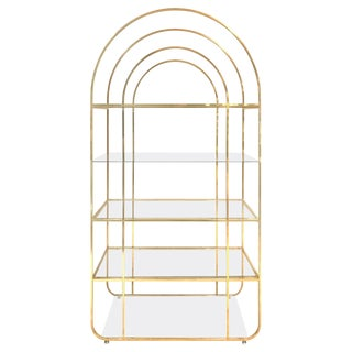 1970s Arched Top Brass Étagère For Sale