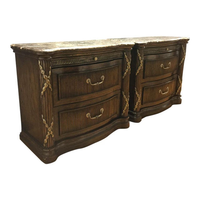 Philippe Langdon Marble Top Nightstands - Image 1 of 11