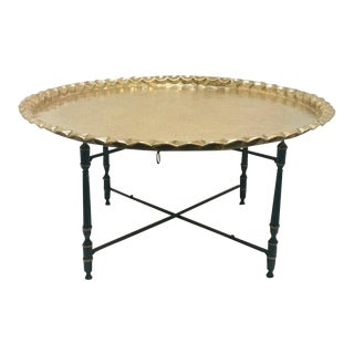 20th Century Moroccan Round Brass Tray Table on Folding Stand For Sale