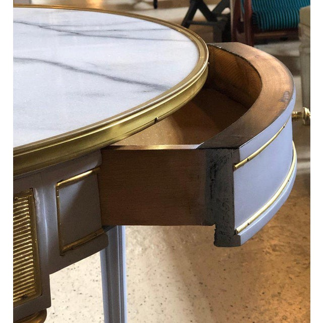 Pair Large Hollywood Regency Painted Bronze Mounted Bouiliotte Center End Tables For Sale - Image 9 of 13