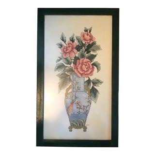 Oriental Vase Framed Needlepoint