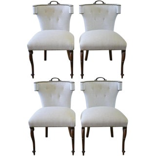 Early 20th Century Linen Upholstered Dining Chairs - Set of 4
