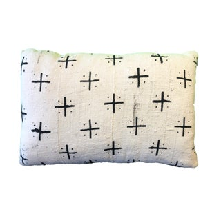 """African Custom Made Lumbar Authentic Mud Cloth Pillow """"18.5""""w For Sale"""