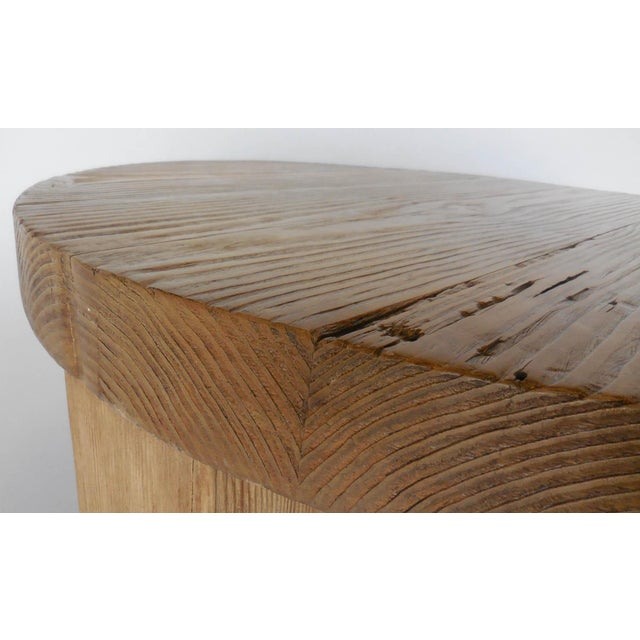 Brown Reclaimed Wood Low Round Coffee Table by Dos Gallos Studio For Sale - Image 8 of 10
