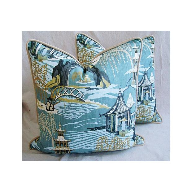 Designer Chinoiserie Asian Toile Pillows - Pair - Image 2 of 7