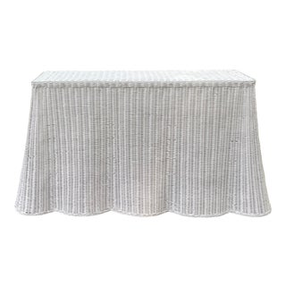 Trompe l'Oeil Rattan Console Table For Sale