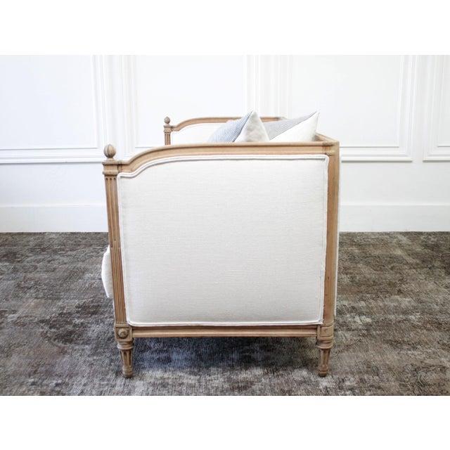 Linen Antique Louis XVI Sofa Bleached Oak and Natural Linen For Sale - Image 8 of 12