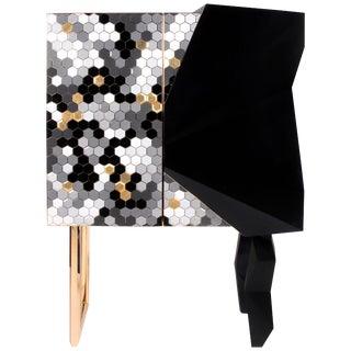 Honeycomb Black and Gold Leaf Cabinet, Royal Stranger For Sale
