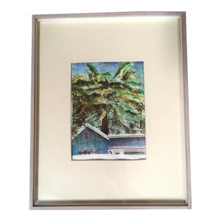 Schoffman Vintage 1992 'House & Tree' Watercolor For Sale
