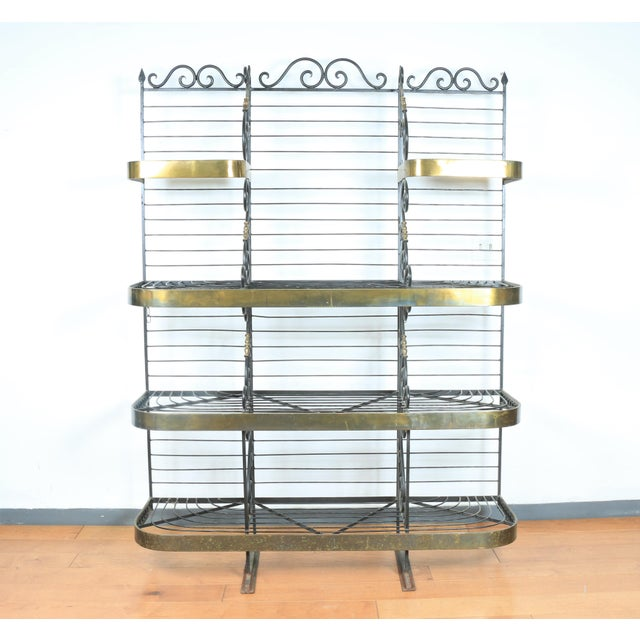 Wrought Iron and Brass Bakers Rack For Sale - Image 10 of 10