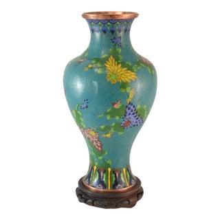 """Last Call! Antique Aqua 13"""" Cloisonne Vase W/ Stand For Sale"""