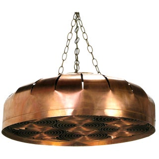 Studio Design Copper Concentric Circles Hanging Light Fixture For Sale