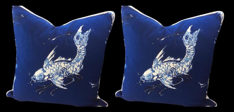 Ralph Lauren Pillows in Cadet Navy Blue \u0026 White Koi Linen - a Pair
