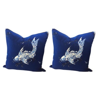 Ralph Lauren Pillows in Cadet Navy Blue & White Koi Linen - a Pair For Sale