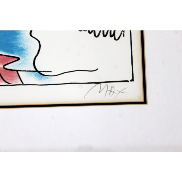 "1980s Peter Max ""Running With Flying Sage"" Mid-Century Modern Framed Print For Sale - Image 5 of 7"