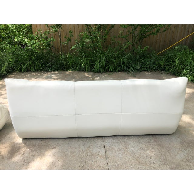 White Michael Ducaroy Togo Style White Vinyl Sectional - Set of 4 For Sale - Image 8 of 13