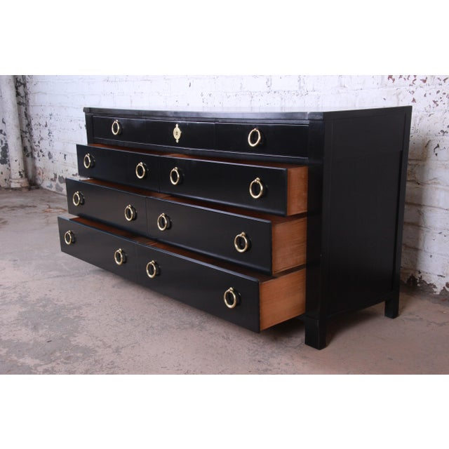 Baker Furniture Hollywood Regency Ebonized Long Dresser For Sale In South Bend - Image 6 of 13