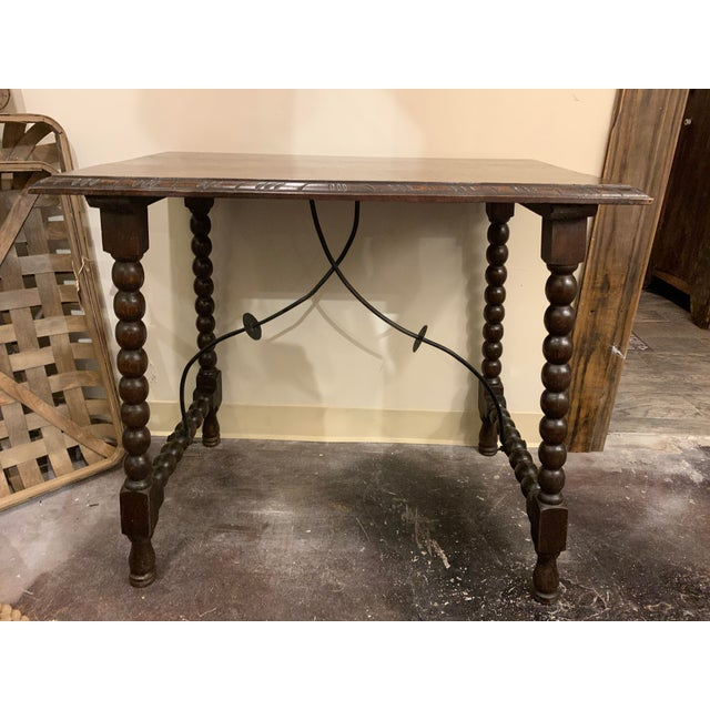 Spanish Baroque Style Carved Oak Side Table For Sale - Image 4 of 13