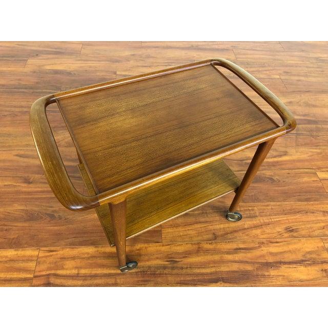 Mid-Century Modern Vintage Jl Moller Teak Bar Cart or Serving Trolley For Sale - Image 3 of 13
