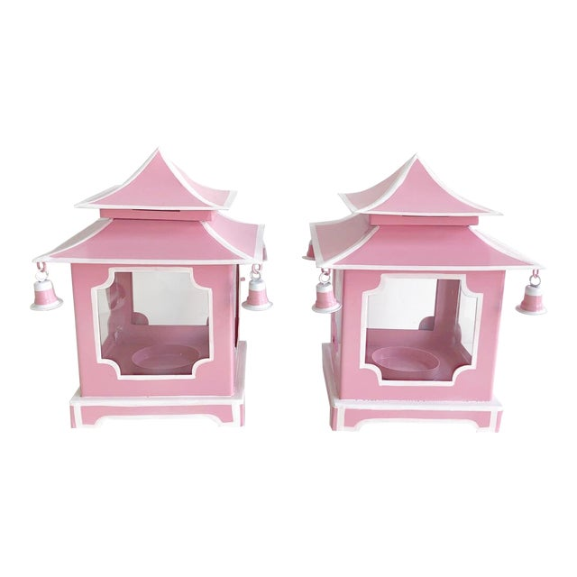 Pair of Pink Pagoda Candle Lanterns With White Stripe Detail With Bells For Sale