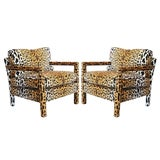 Image of Pair of Leopard Parson Chairs in the Style of Milo Baughman, Custom For Sale