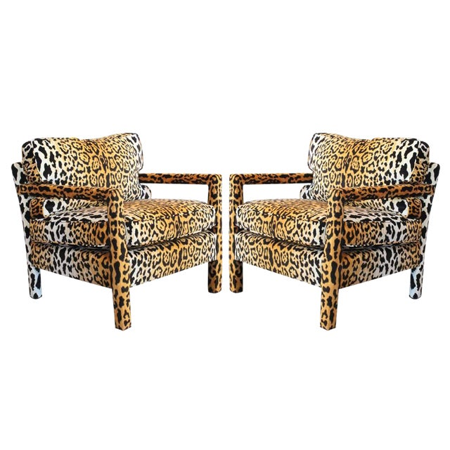 Pair of Leopard Parson Chairs in the Style of Milo Baughman, Custom For Sale