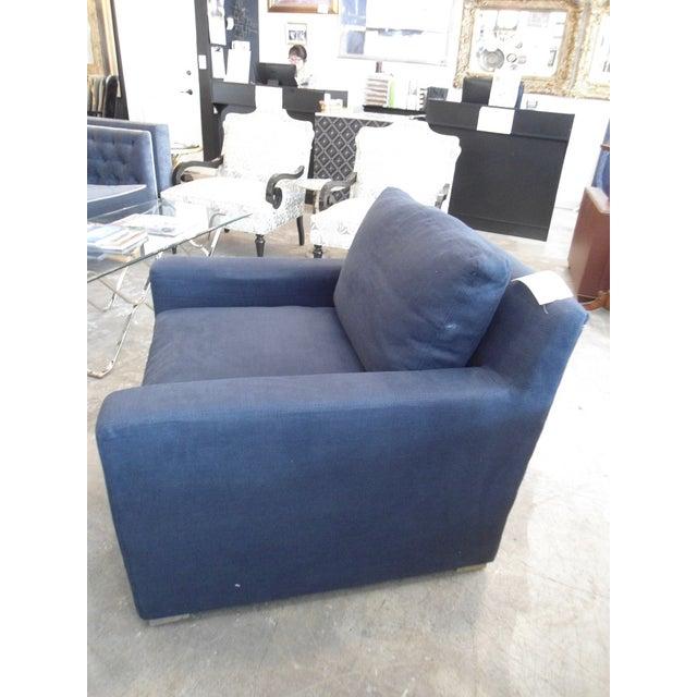 Restoration Hardware Upholstered Navy Armchair - Image 3 of 5