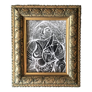 Original Vintage Abstract Nude Female Small Wood Block Print Ornate Frame For Sale