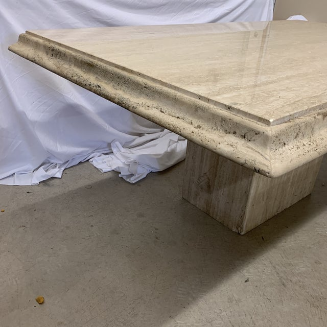 Contemporary Italian Travertine Marble Dining Table For Sale - Image 3 of 13