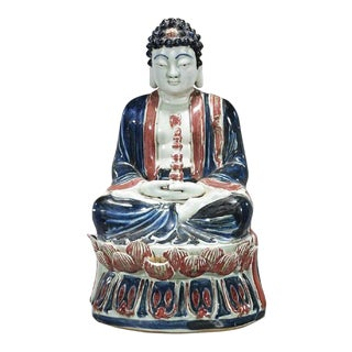 Antique Ming Style Chinese Pottery Seated Buddha W Lotus Base For Sale