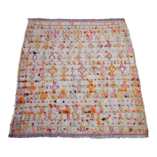 """Antique Anatolian Braided Rug Hand Woven Cotton Small Rug Sofreh - 4' X 4'3"""" For Sale"""