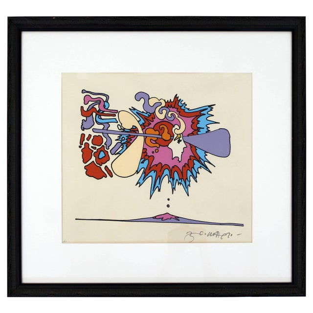 Purple Mid-Century Modern Framed Litho Winter Sunshine Peter Max Signed Numbered 1970s For Sale - Image 8 of 8