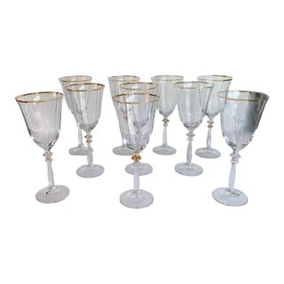 Set of 10 Glass Wine Glass With Gilt Trim For Sale