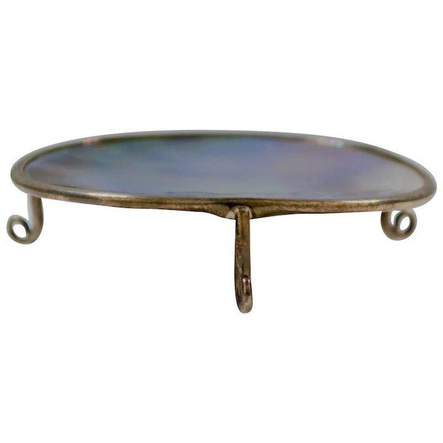 Metal Mother of Pearl Footed Platform For Sale - Image 7 of 7