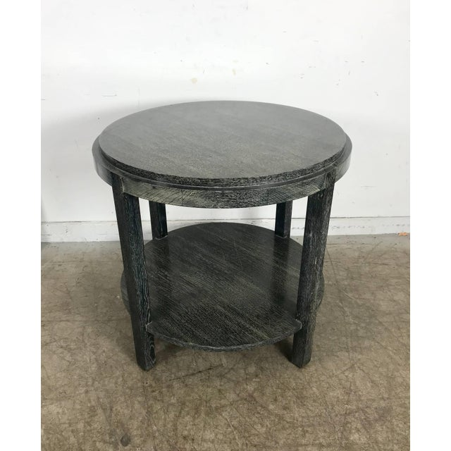 Stunning ebonized cerused oak center or lamp table attributed to James Mont. Classic modernist styling, wonderful original...