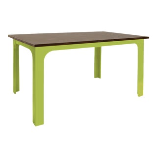 "Craft Kids 42"" Table in Walnut With Green Finish For Sale"
