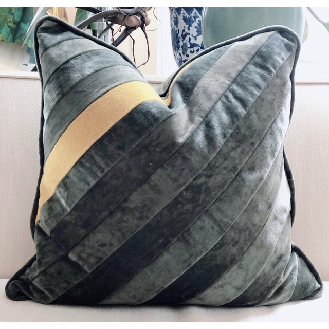 Hand Pieced Grey and Yellow Diagonal Stripe Down Throw Pillow For Sale In Saint Louis - Image 6 of 6