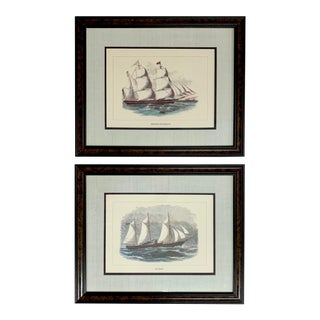 Late 20th Century Framed Tall Ship Reproduction Prints Wall Art - a Pair For Sale