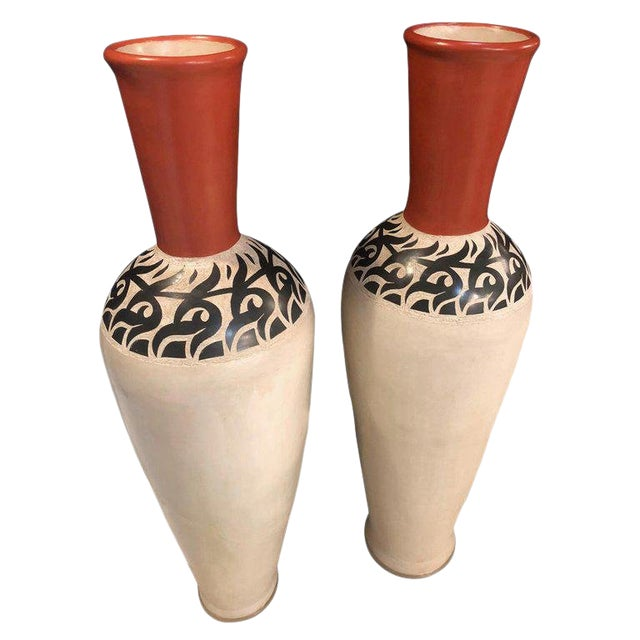 Monumental Decorative Moroccan Pottery Vases - A Pair For Sale