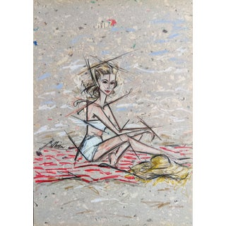 Contemporary Portrait of Grace Kelly in White Swimsuit Color Pencil Drawing by Shirin Godhrawala For Sale